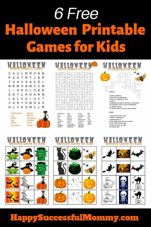 Halloween Printable Games for Kids free and fun
