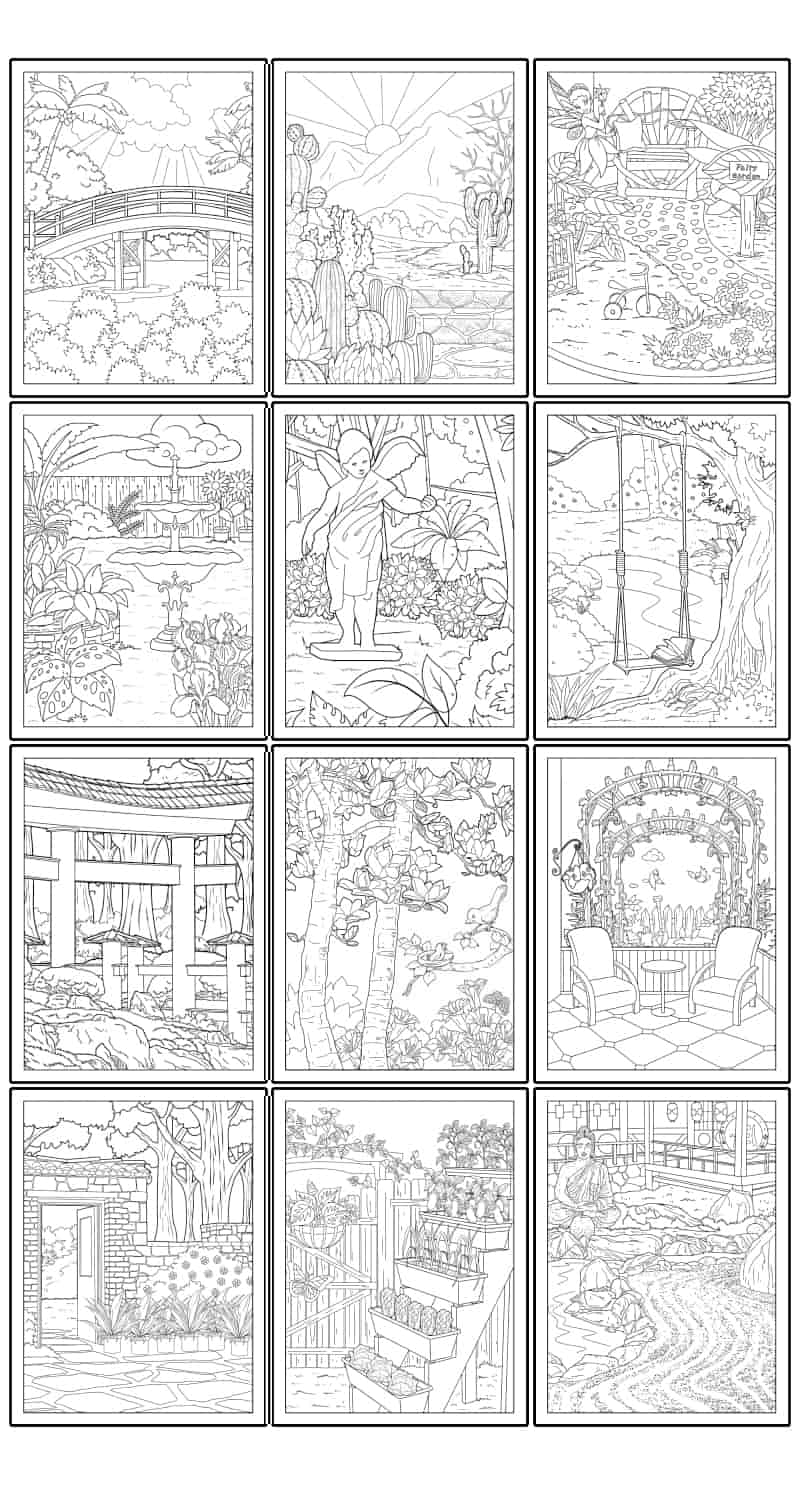 12 Free Printable Garden Coloring Pages For Adults