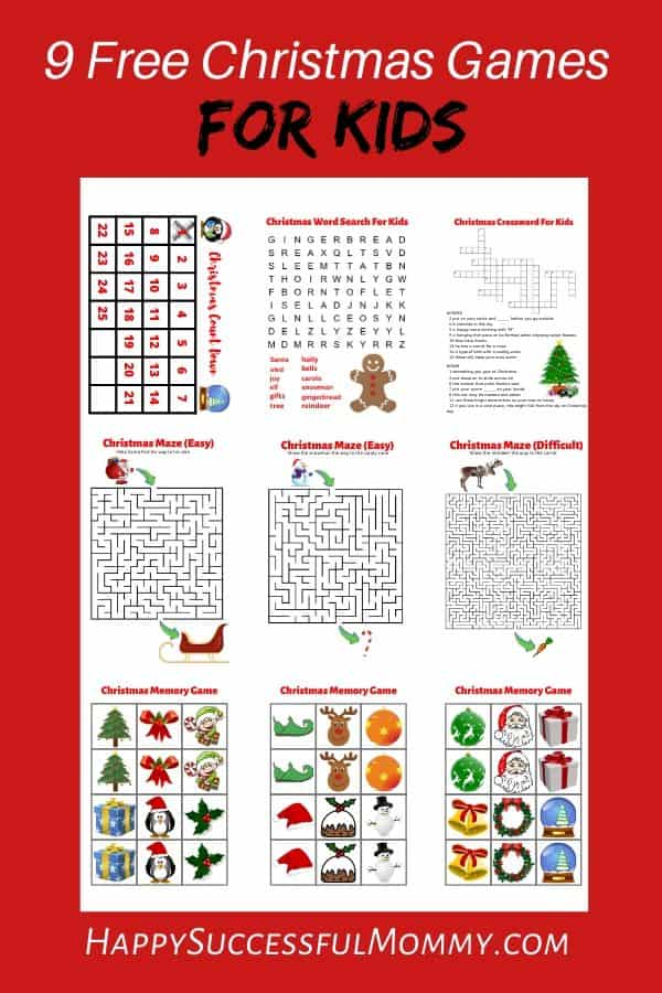 Christmas Games for Kids to download and print and enjoy during the holidays