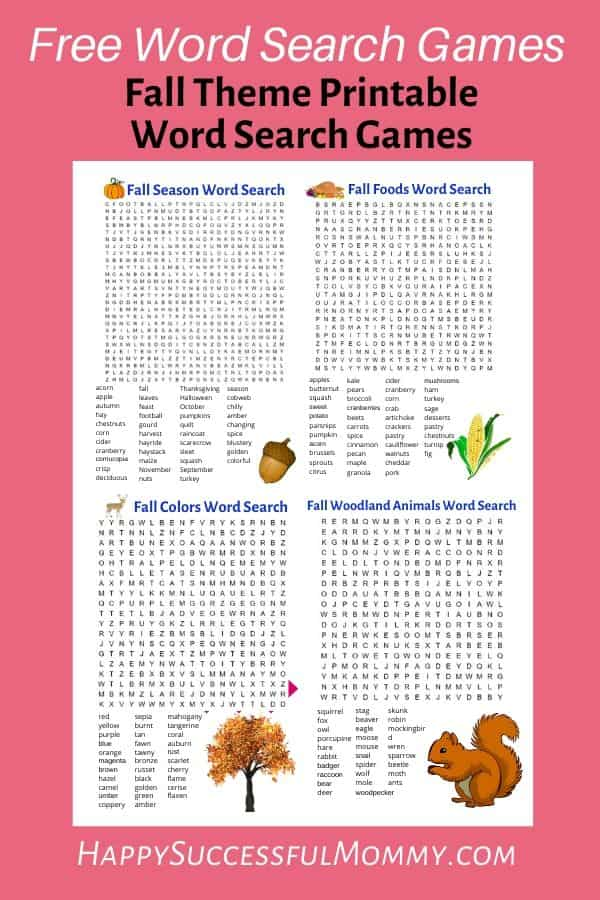 Fall Word Search Games for adults or kids