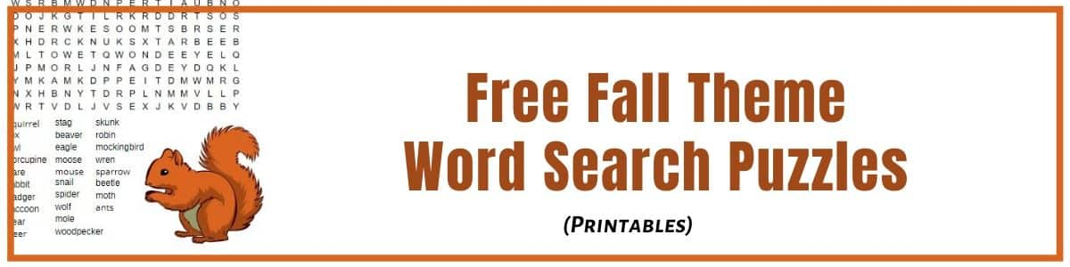 Fall Word Search Puzzles to help you relax